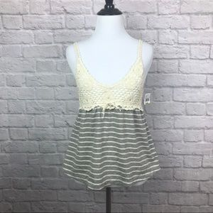 C&C California Crochet Babydoll Cami Tank Medium